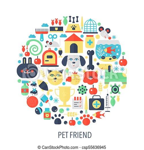 Amigo de mascotas, iconos de información plana en círculo... ilustración de concepto de color para cubierta de tiendas de mascotas, emblema, plantilla. - csp55636945