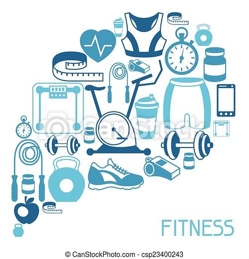 Antecedentes deportivos con íconos de fitness en estilo plano. - csp23400243