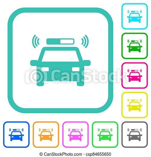 plano, iconos, destellar, coloreado, vívido, patrullero - csp84655650