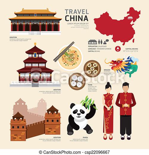 plano, iconos, viaje, concept.vector, diseño, china - csp22096667