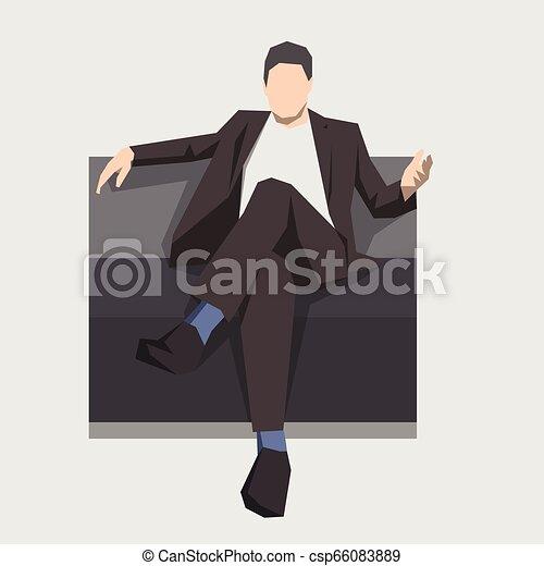 Hombre de negocios sentado en el sofá, ilustración aislada. Diseño plano geométrico. Gente de negocios - csp66083889