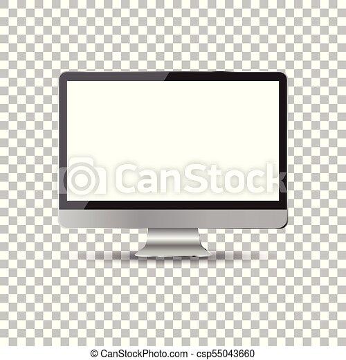 Desktop ordenador icono plano. Ilustración de vectores realistas - csp55043660