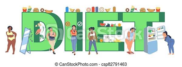 plano, ilustración, dieta, vector, plantilla, tipografía, bandera - csp82791463