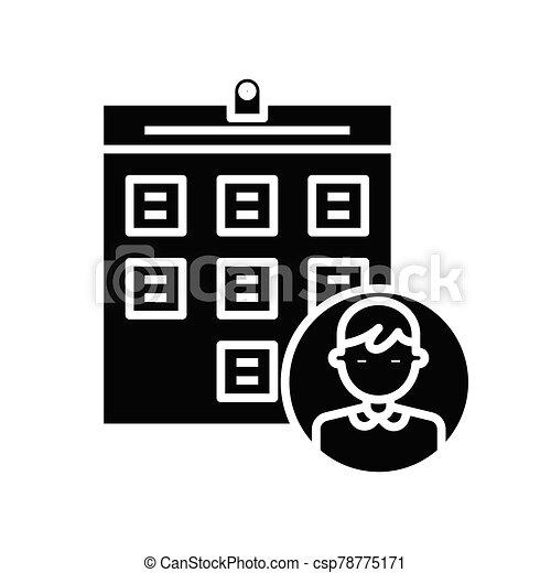 plano, ilustración, tareas, icono, negro, vector, símbolo, glyph, signo., concepto, lista - csp78775171