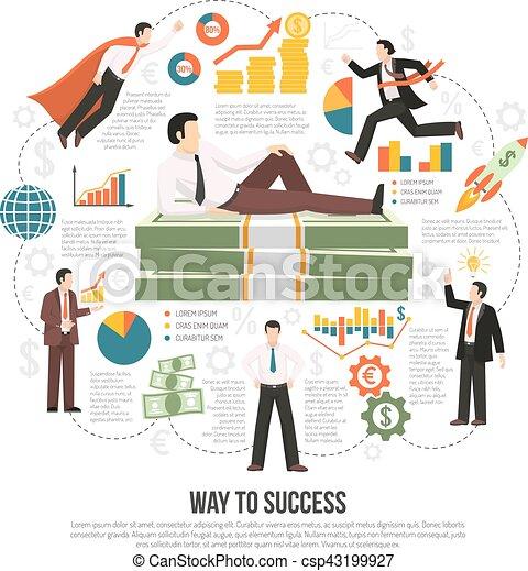 Camino al éxito póster de información plana - csp43199927