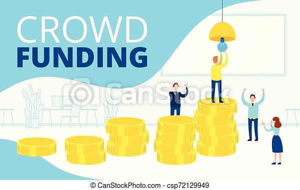 Ilustración de vectores planos de la financiación de multitudes, cómo gracias a la inversión en una startup - csp72129949