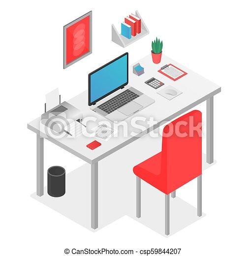 Concepto del espacio de trabajo 3D con portátil en la ilustración del vector de la mesa. - csp59844207