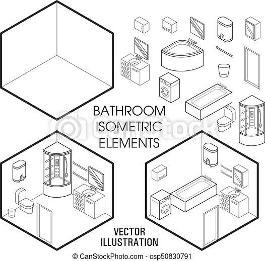 Plano, isométrico, conjunto, constructor., cuarto de baño ...