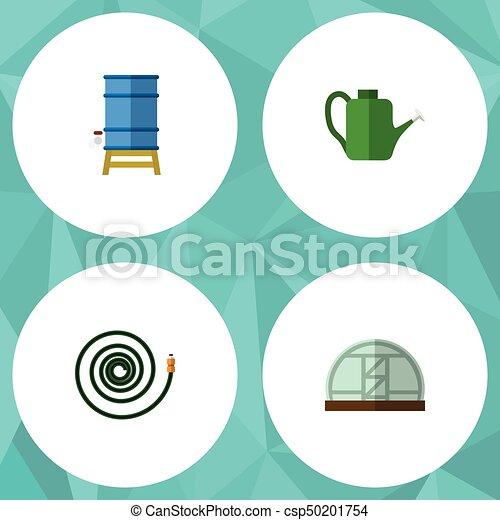 Granja de iconos planos de invernadero, contenedores, Baileyr y otros objetos vectoriales. También incluye contenedores, jardín, elementos de invernadero. - csp50201754