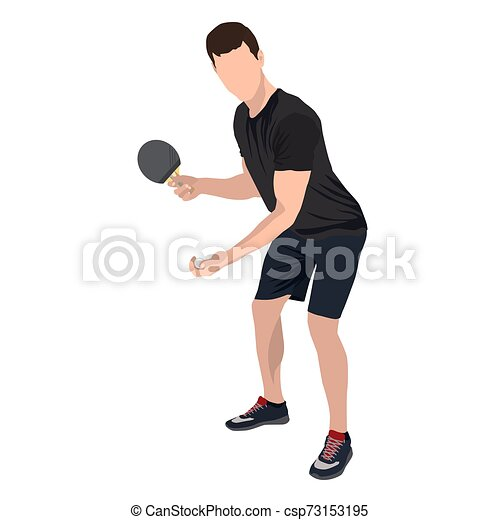 Jugador de tenis de mesa con bola y raqueta, vector plano ilustración aislada - csp73153195