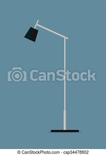Lámpara de suelo icono plano - csp34478802