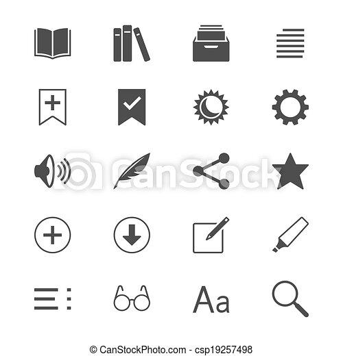 Lectores de E-book iconos planos - csp19257498
