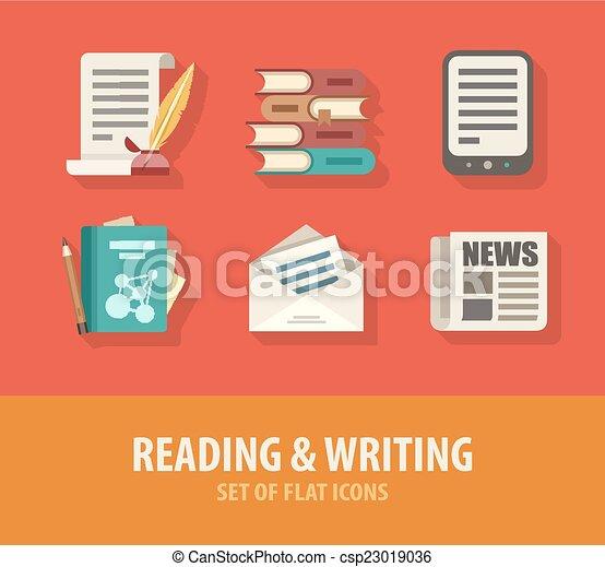 Lectura y escritura de íconos planos - csp23019036
