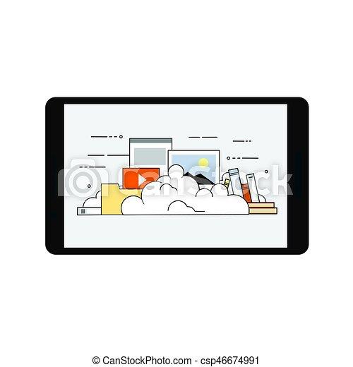 plano, móvil, almacenamiento, ilustración, vector, diseño, dispositivo, seguridad, datos, nube - csp46674991
