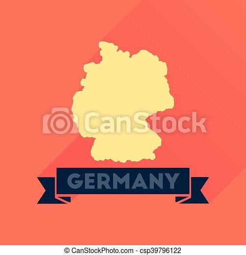 Un icono plano con un mapa alemán de larga sombra - csp39796122