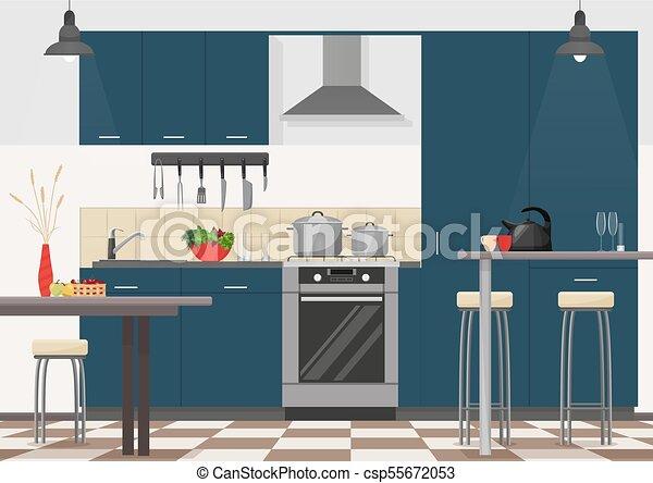 plano, moderno, cocina, kitchen., devices., realista, diseño, interior,  muebles, caricatura, cocina