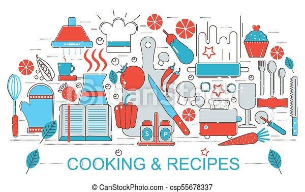 plano, moderno, poster., tela, recetas, cocina, presentación, concepto,  diseño, delgado, aviador, sitio web, bandera, línea, cocina