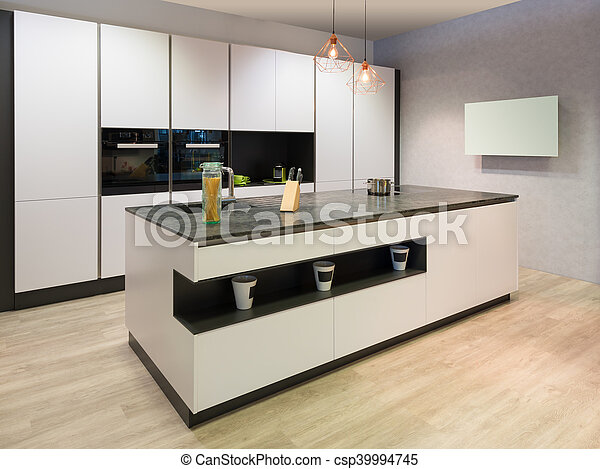 Plano moderno televisi n isla cocina blanco cocina - Television cocina ...