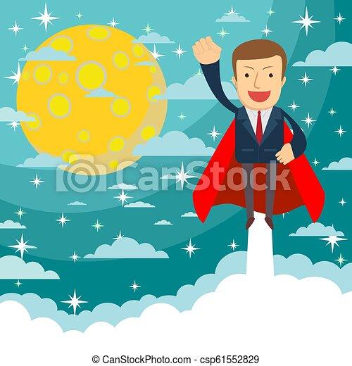 Un superhéroe de negocios vuela y deja una nube de polvo. Ilustración vectorial plana. - csp61552829