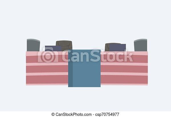 Recepción de dibujos animados con sillas modernas muebles de oficina horizontales - csp70754977