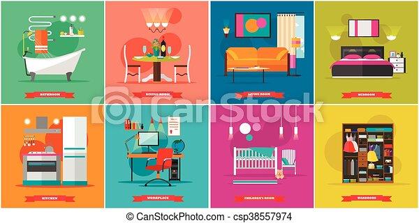 plano, muebles, casa, habitación, cocina, ilustración, cenar, lugar de  trabajo, vector, diseño, interior, hogar, cuarto de baño, style., cabinet.