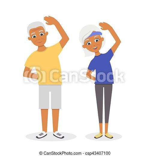 Vector activo, feliz y saludable pareja afroamericana: dibujos ...