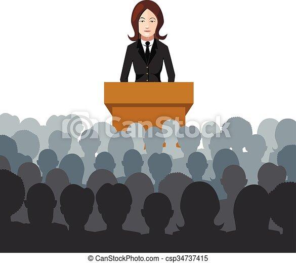 La mujer da una conferencia a una ilustración del público - csp34737415