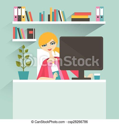Un lugar de trabajo para mujeres. Secretario. Ilustración vectorial plana. - csp28266786
