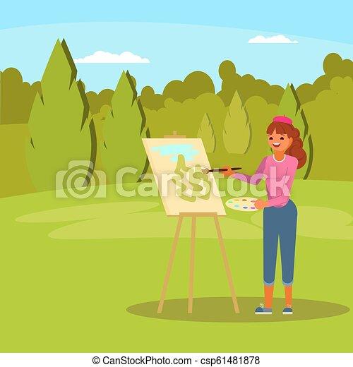 Mujer pintando vector verde parque vector plano ilustración - csp61481878