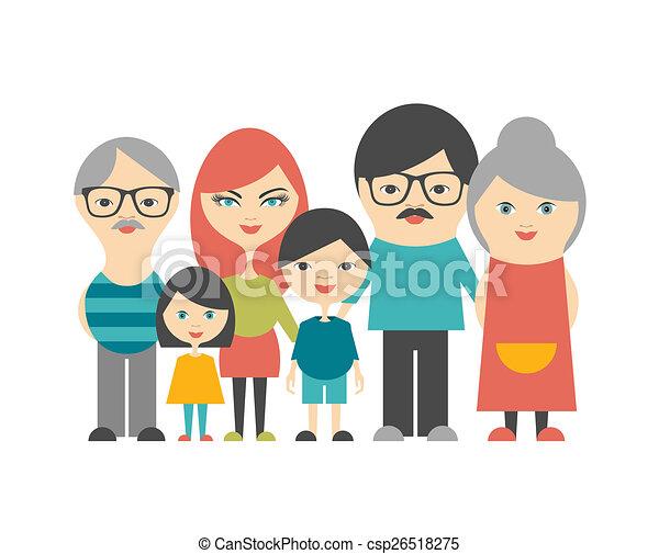 Familia multigeneración. Padres, hijos y abuelos. Diseño plano. - csp26518275