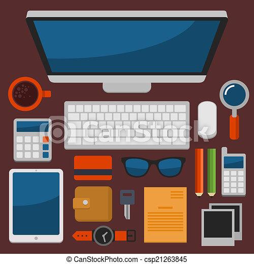 Oficina de trabajo vista superior en vector de diseño plano - csp21263845