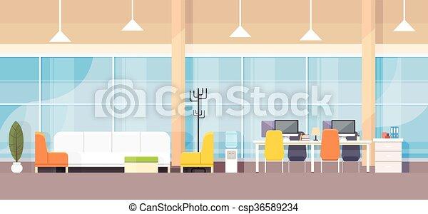 Diseño plano de oficinas de interiores de oficinas modernas - csp36589234