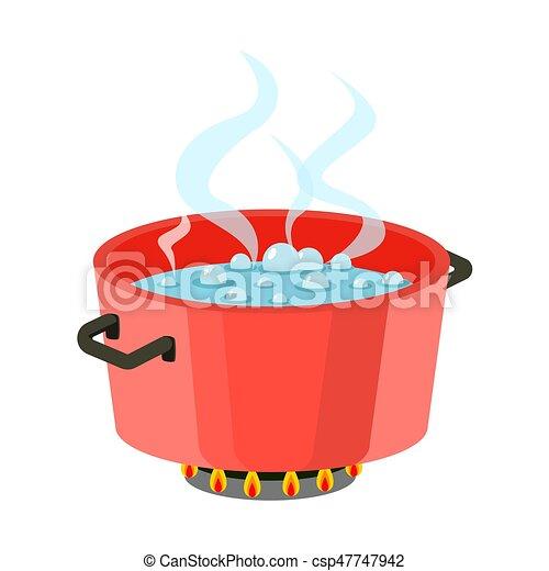 Plano Olla Cocina Agua Ebullici N Estufa Vector