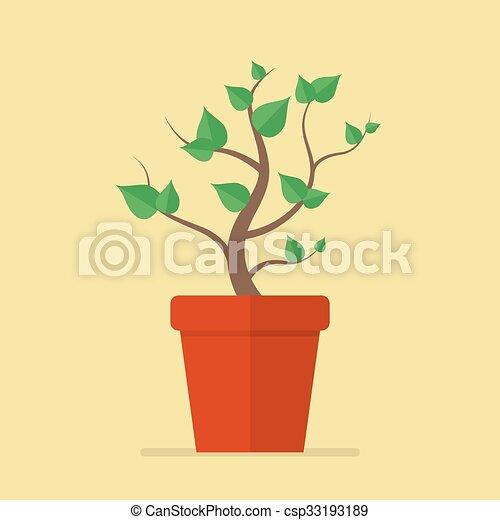 Planta en icono plano de marihuana - csp33193189