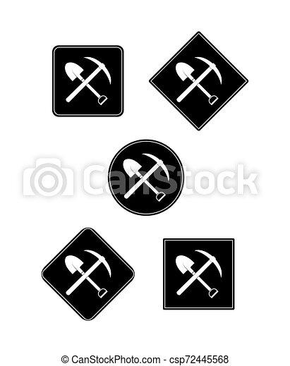 Pico y pala icono en cuadrado negro y círculo, diseño plano - csp72445568