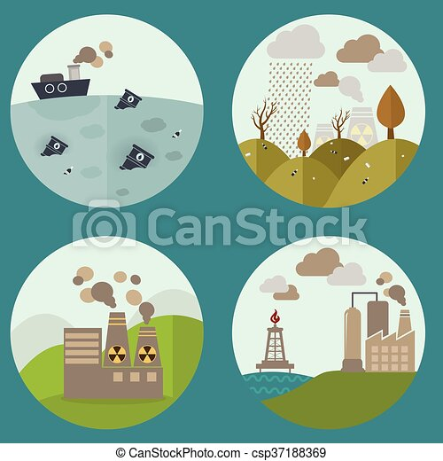 Clip art vectorial de plano planta industrial pollution set