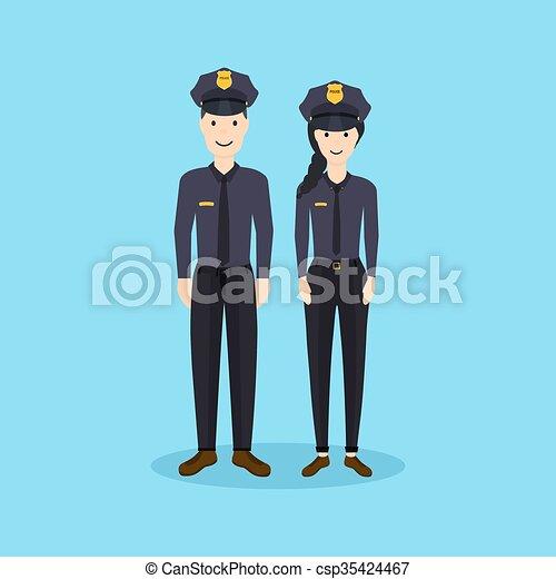 Oficiales de policía masculinos y femeninos en diseño plano. Ilustración de vectores. - csp35424467