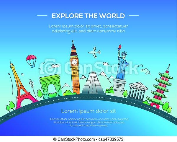 Ilustración de postales de diseño plano con un famoso monumento mundial - csp47339573
