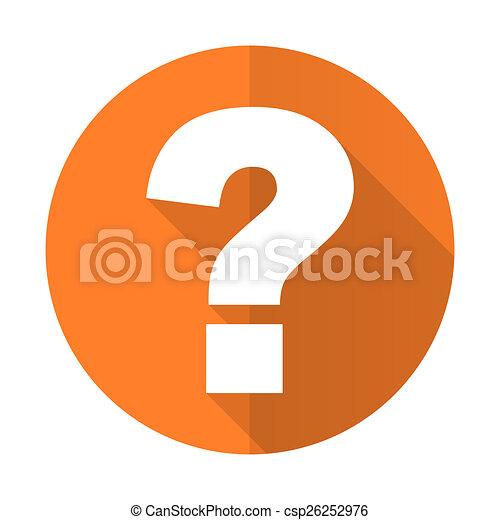 Signo de interrogación: icono plano naranja pide señal - csp26252976