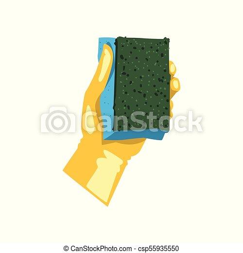Un ícono colorido de mano humana en guante protector sosteniendo esponja para lavar platos. Herramienta de cocina para limpiar. Tema de limpieza. Diseño vectorial plano - csp55935550