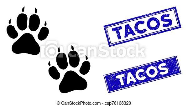 plano, rectángulo, sellos, tigre, huellas, icono, angustia, tacos - csp76168320
