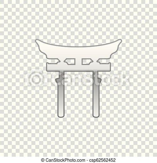 La Puerta de Japón de Plata aisló un objeto de fondo transparente. Señal de puerta de Torii. Simbolo clásico japonés. Diseño plano. Ilustración de vectores - csp62562452