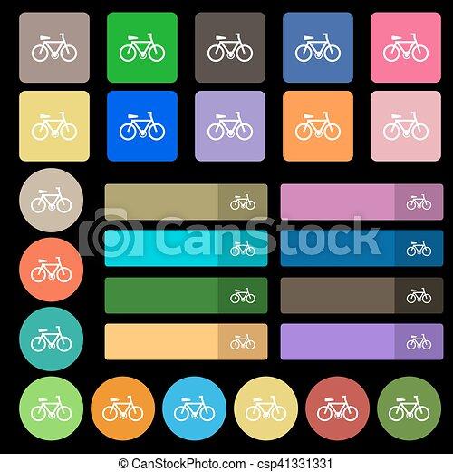 Señal de icono de bicicleta. De veintisiete botones planos multicolores. Vector - csp41331331