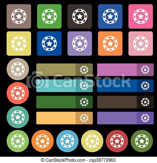 Señal de icono de las fichas de juego. De veintisiete botones planos multicolores. Vector - csp39772963