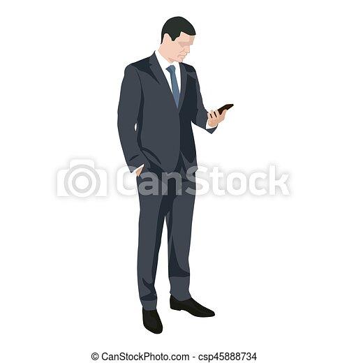 Hombre de negocios escribiendo sms en teléfono móvil, vector de diseño plano silueta - csp45888734