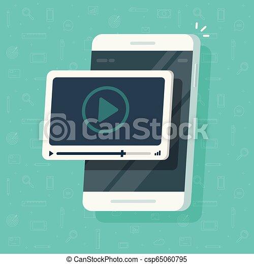 Video en vector de teléfono móvil, pantalla de smartphone plano de dibujos animados con el concepto web webinar, idea de ver tutoriales, e-learning, transmisión de películas de móviles - csp65060795