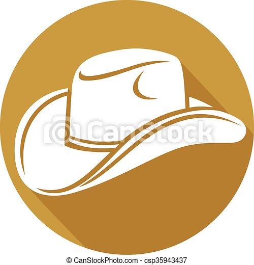 plano, sombrero vaquero, icono - csp35943437