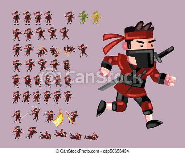 Un juego de dibujos animados de los ninjas rojos - csp50656434
