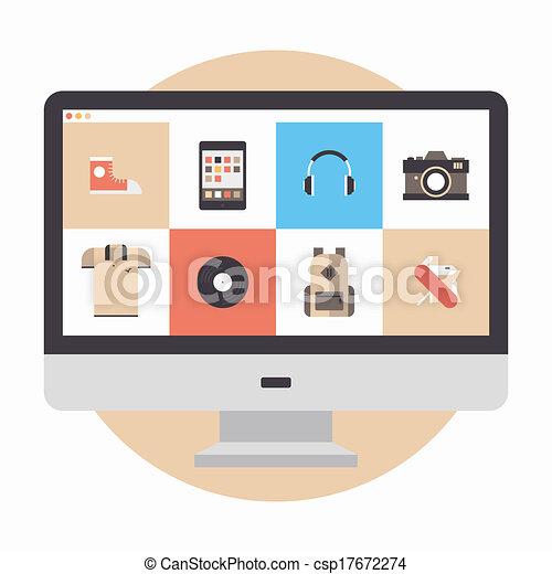 Ilustración plana de la tienda en línea - csp17672274