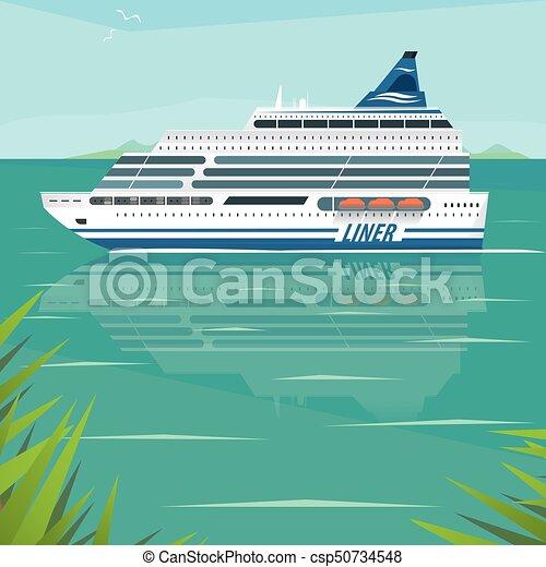 El crucero flota lentamente en la superficie plana del mar - csp50734548